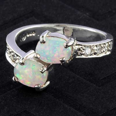 Silver and synthetic opal with CZ ring