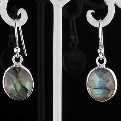 Silver and faceted labradorite earrings