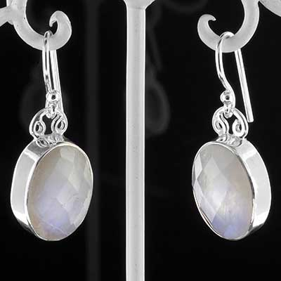 Silver and faceted moonstone earrings