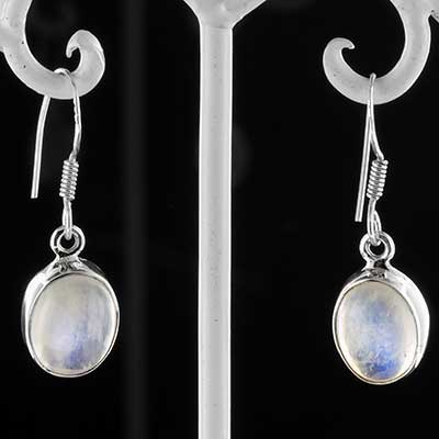 Silver and moonstone earrings
