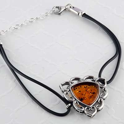 Silver and Baltic Amber Triangle Bracelet