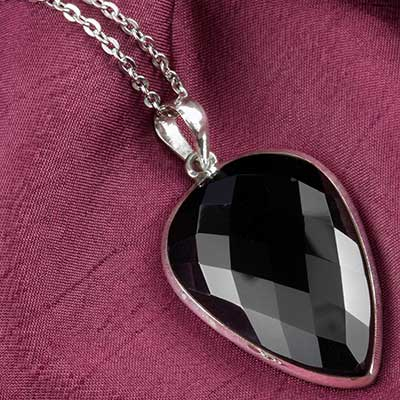 Faceted black agate and silver necklace