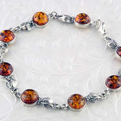 Silver and Baltic amber bracelet