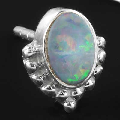 Ornate genuine opal earrings