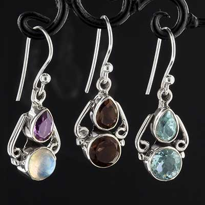 Silver adorned gemstone earrings