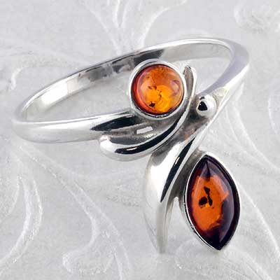 Silver and Baltic amber flow ring