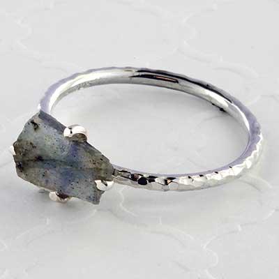 Silver and rough labradorite ring