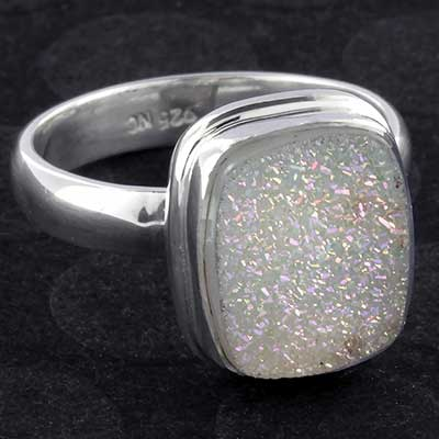 Silver and druzy ring