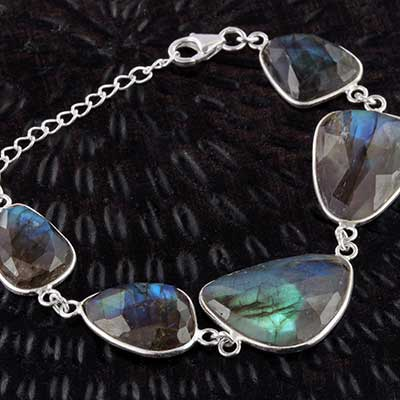 Faceted Labradorite and Silver Bracelet