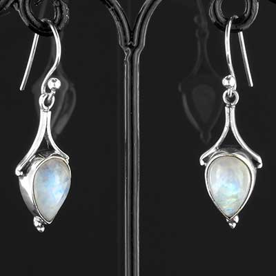 Silver and moonstone drop earrings