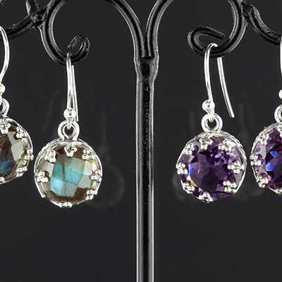 Silver crown earrings