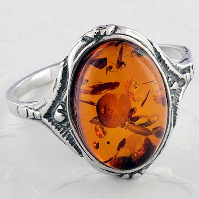 Silver and Baltic amber ring