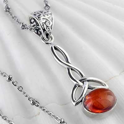 Amber twist and silver necklace