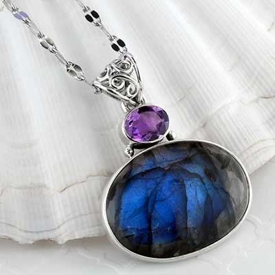 Labradorite with tanzanite and silver necklace
