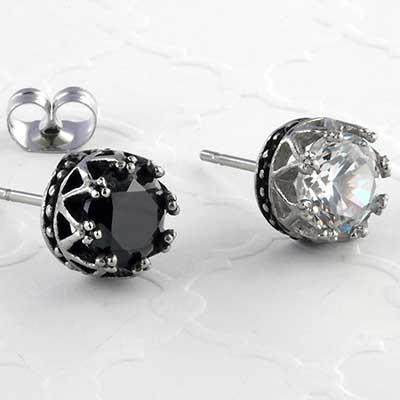 Crown gem earrings