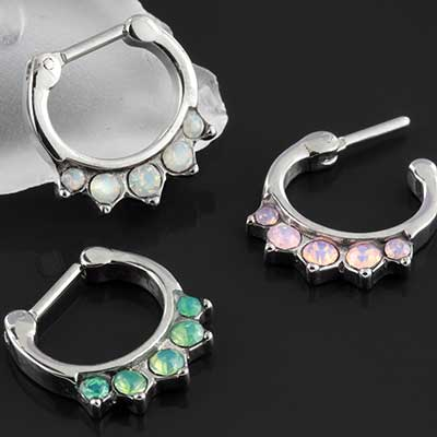 Multi-gem opalite septum clicker