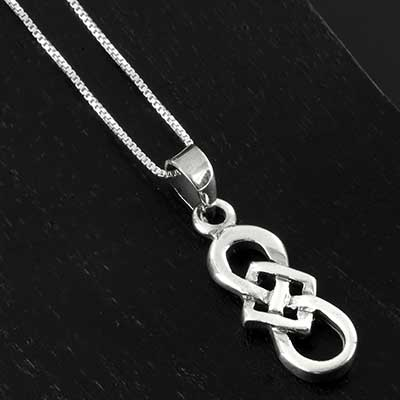 Silver Celtic vector knot necklace