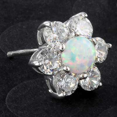 Silver and synthetic opal flower earrings