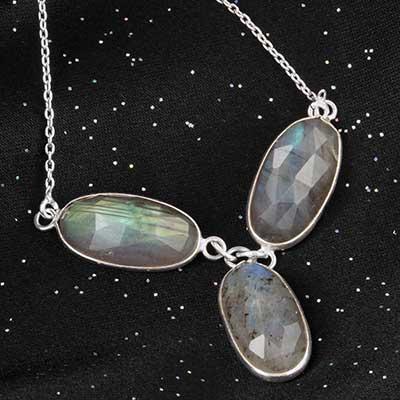 Faceted labradorite silver necklace