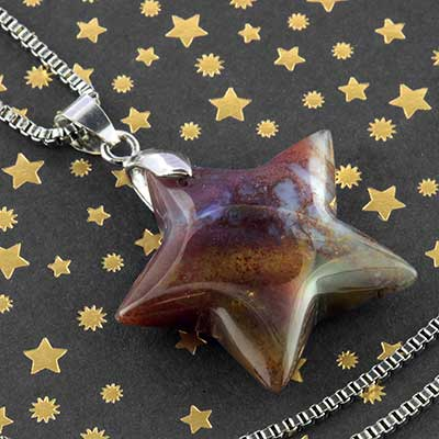 Moss agate star necklace
