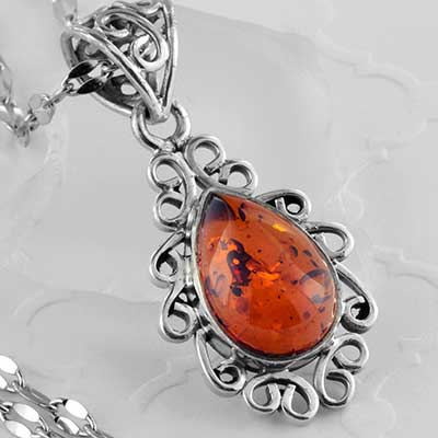 Baltic amber teardrop and silver necklace