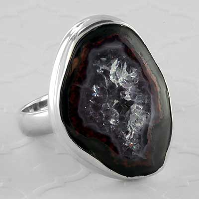 Silver and geode druzy ring