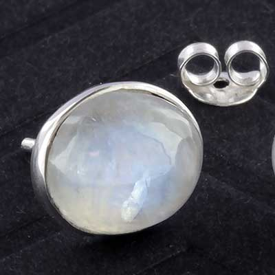 Silver and oval moonstone earrings