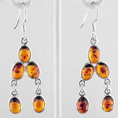 Silver and Baltic amber drop earrings