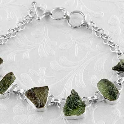 Silver and Moldavite Bracelet