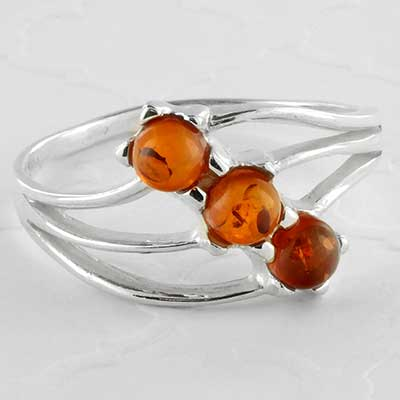 Silver and Baltic amber trio ring