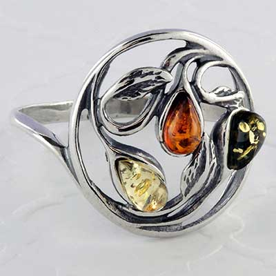 Silver and Baltic amber leaf ring