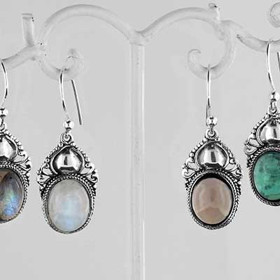 Silver crowned stone earrings