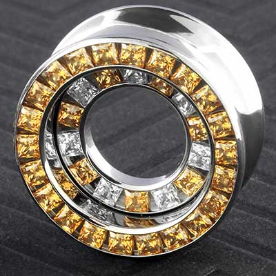 Titanium princess cut double orbit eyelets