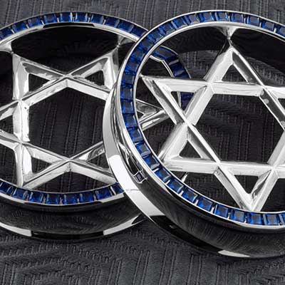 Steel princess cut eyelets with silver Star of David inlay