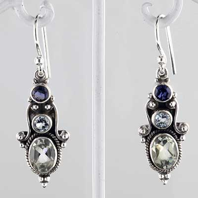 Silver and gemstone trio earrings