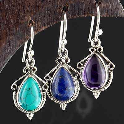 Silver ornate teardrop stone earrings