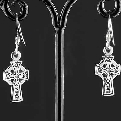 Silver Celtic cross earrings