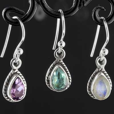 Silver adorned teardrop gemstone earrings