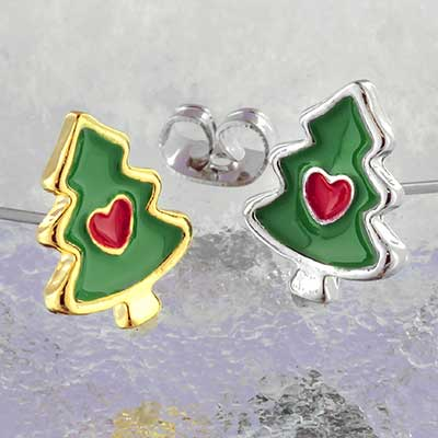 Christmas tree love earrings