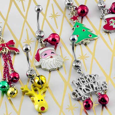 Assorted Holiday Dangle Navel