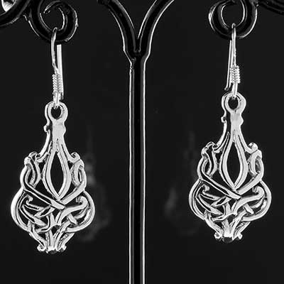 Silver Celtic shield knot earrings