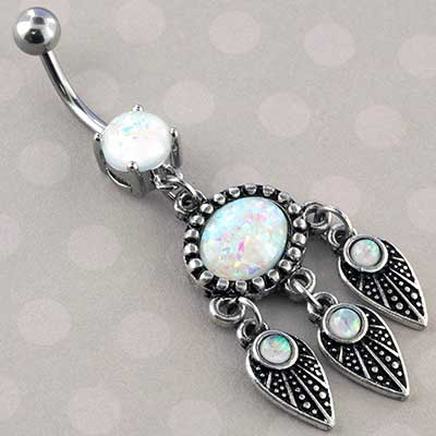 Synthetic Opal Abstract Feather Navel