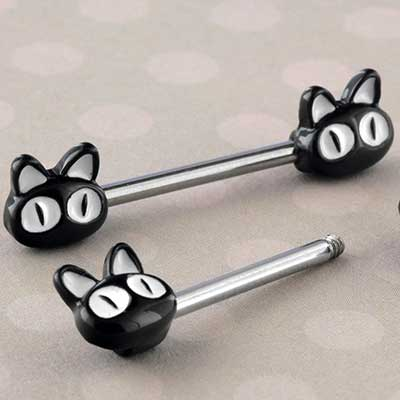 Black Alley Cat Nipple Barbell