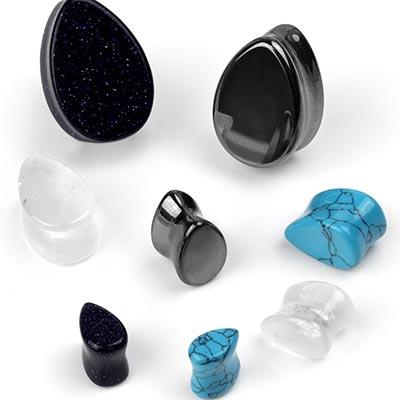 Stone and Glass Teardrop Plug