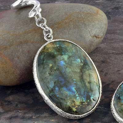 Silver and labradorite oval dangles