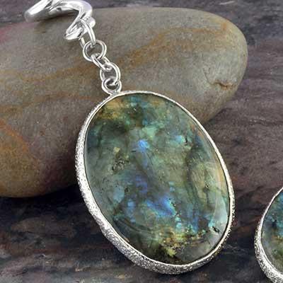 Silver and labradorite oval dangles