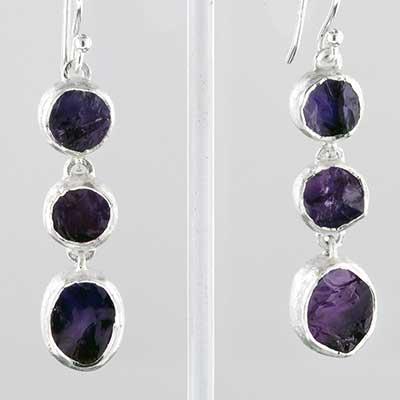 Silver tripple amethyst earrings