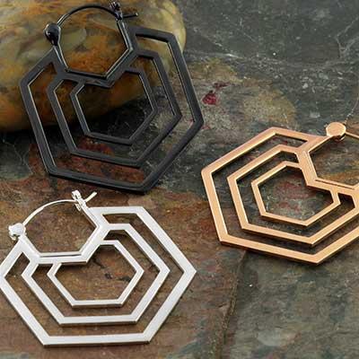 Triple Hex Earrings