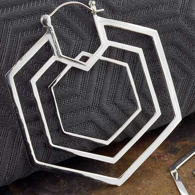 Silver Plated Triple Hex Earrings