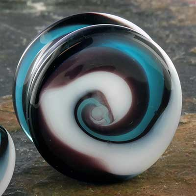 Glass blue swirl plugs